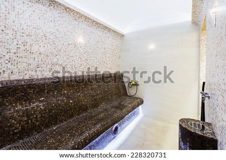Interior of Turkish sauna, classic Turkish hammam - stock photo