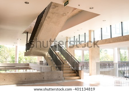 Interior of university or office building hallway and stair in modern loft style - stock photo