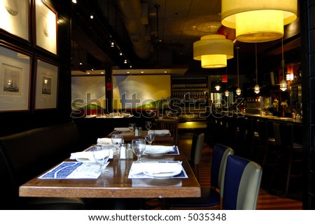 interior of upscale bar and restaurant - stock photo