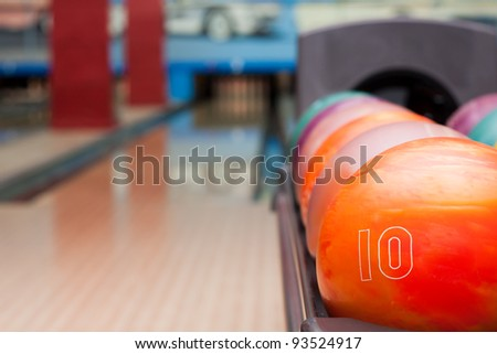 Interior of vintage bowling hall. Focus on ball - stock photo