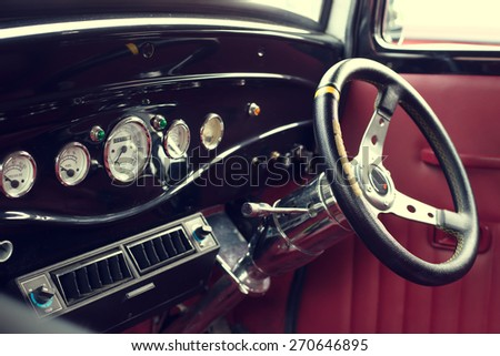 Interior of vintage car  - stock photo