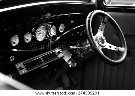 Interior of vintage car ,Black and White