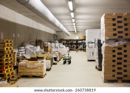 Interior of warehouse of store or industry plant - stock photo