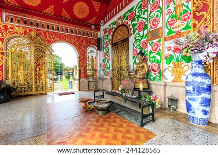 Interior of Wat Chet Yod  temple in Chiang Rai, Thailand - stock photo