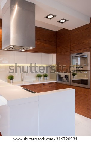 Interior of white and brown modern kitchen