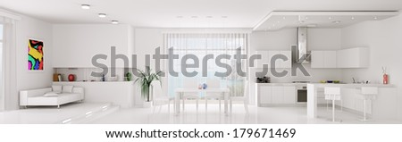 Interior of white apartment kitchen dining room panorama 3d render - stock photo