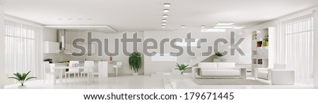 Interior of white apartment living room kitchen panorama 3d render - stock photo