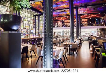 interior of wine bar in Amsterdam  - stock photo