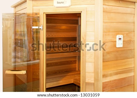 Interior of wooden sauna cabin for home