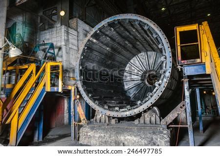 interior of workshop factory indor heavy metal - stock photo