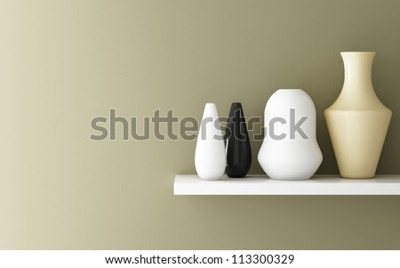 Interior of yellow ochre wall and ceramic on shelf decorated, 3d rendering - stock photo