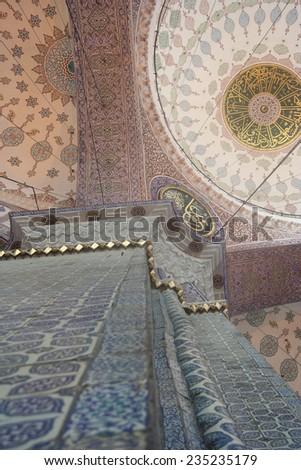 Interior of Yeni Cami Mosque in Istanbul - Eminonu, Istanbul, Turkey, Europe - stock photo