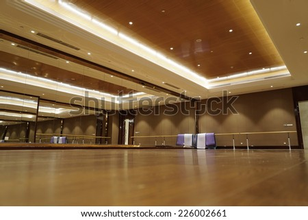 interior of yoga & dance classroom - stock photo