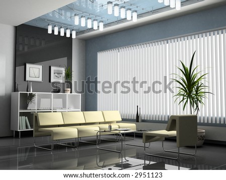 Interior office for negotiations 3D rendering - stock photo
