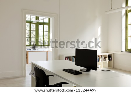 interior, office with furniture, computer - stock photo