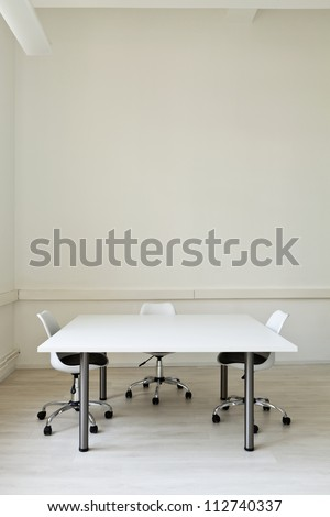 interior, office with furniture white