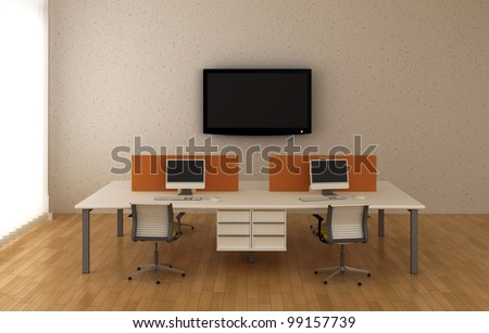Interior office with system office desks and TV. - stock photo