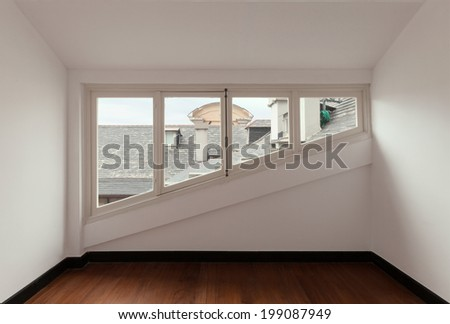 interior, old attic with windows