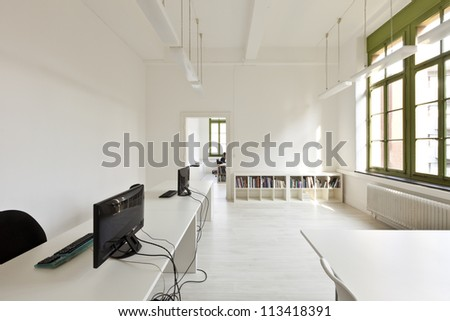 interior old building, office with modern white furniture - stock photo