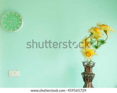 interior on the green background - stock photo