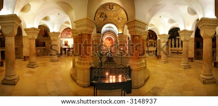 Interior panoramic view of Church of Dormition in Jerusalem, Israel. - stock photo