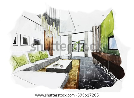 interior perspective sketch design watercolor sketching idea on white paper background