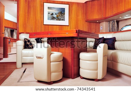 Interior picture of a luxury yacht - stock photo