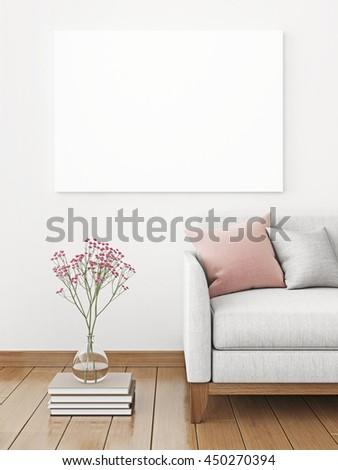 Interior Poster Mockup Fabric Sofa Pillows Stock