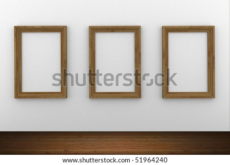 Interior render of three wood frames hanging on the wall
