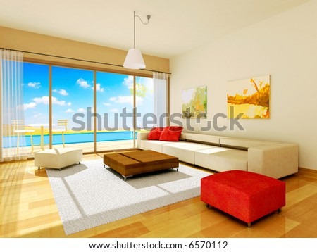 interior rendering - stock photo