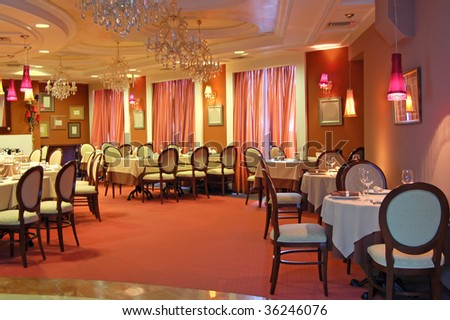 interior restaurant - stock photo