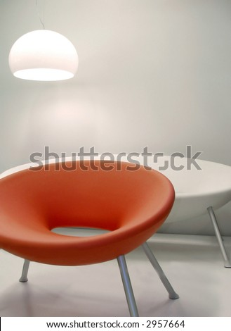 Interior retro design chairs with lamp - stock photo