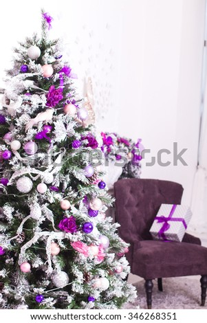Interior room decorated in Christmas style. - stock photo