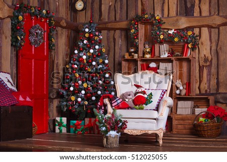 Interior room decorated in Christmas style. No people. Home comfort of modern house