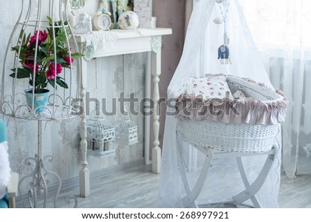 Interior room with a cot in retro style. - stock photo