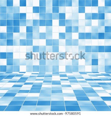 Interior Room with Blue Mosaic Tiled Wall Background - stock photo