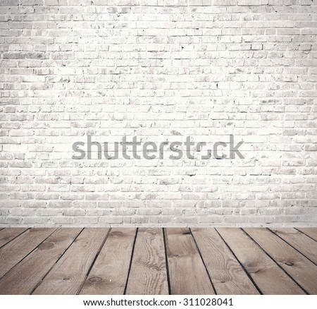 interior room with brick wall and floor  - stock photo