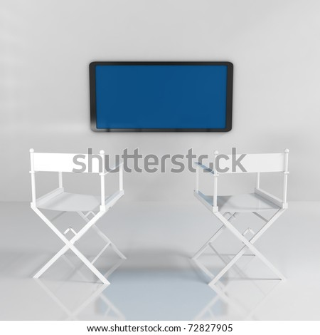 Interior Room With Chairs and TV - 3d illustration - stock photo