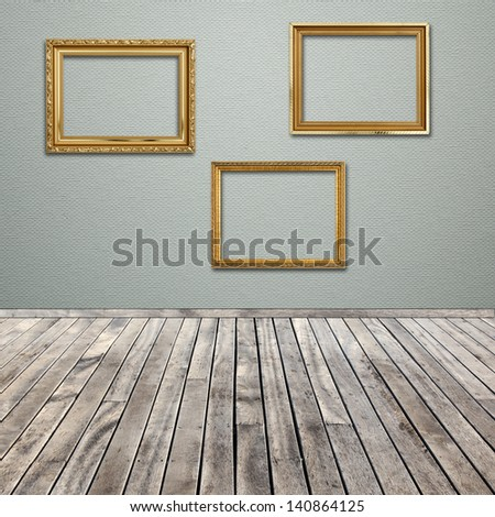 interior room with empty picture frame - stock photo