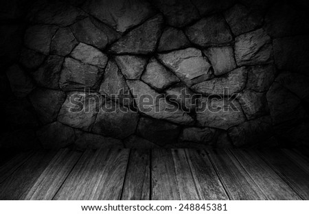 interior room with gray stone wall - stock photo
