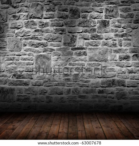 interior room with gray stone wall - stock photo