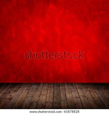interior room with grunge red wall - stock photo
