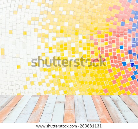Interior room with hot color tone ceramic tiles texture with white filling wall and wooden floor - stock photo