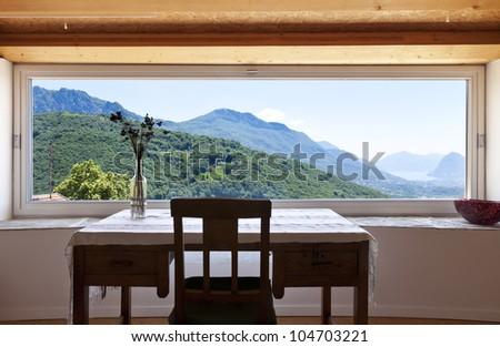 interior room with panoramic window - stock photo