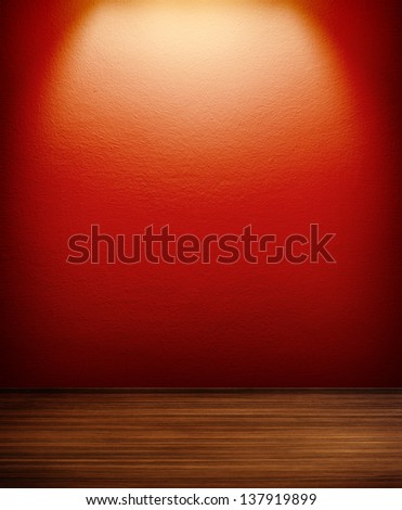 interior room with red wall and spot - stock photo