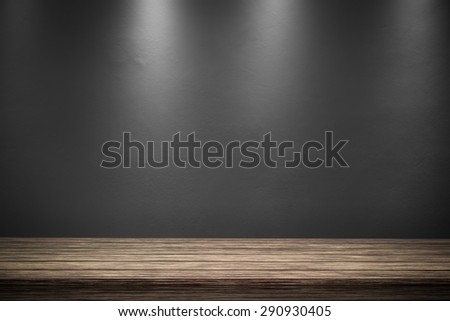 interior room with spot light from the top - stock photo