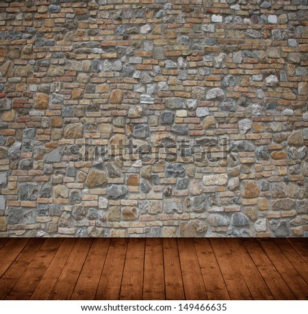 interior room with stone wall - stock photo
