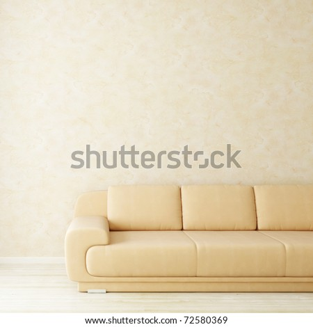 Interior room with stucco wall and sofa - square background