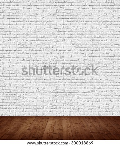 interior room with white brick wall - stock photo