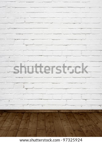 interior room with white brick wall
